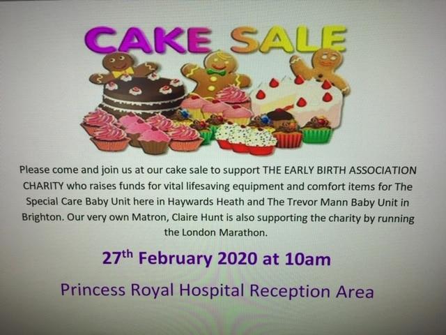 Cake Sale at Princess Royal Hospital – 10am Thursday 27th February 2020